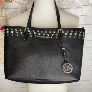 Michael Kors black leather studded bag rhinestones